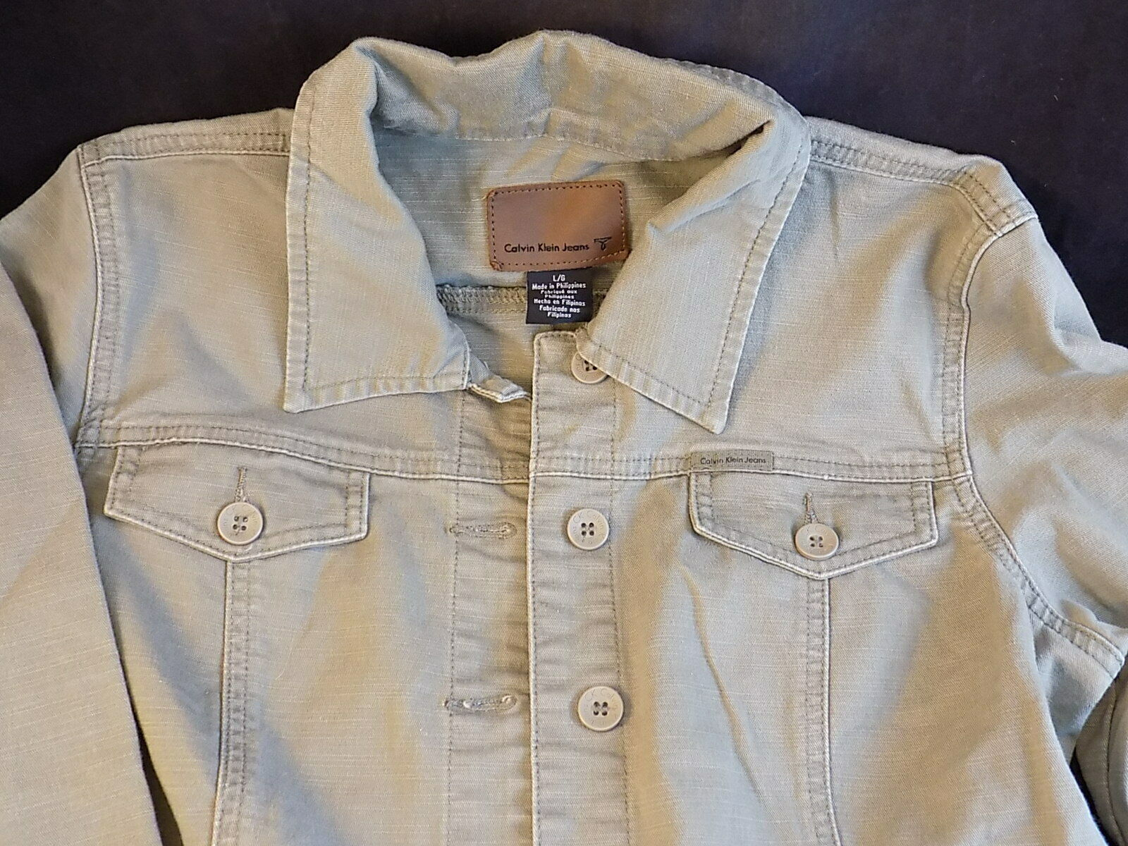 LADIES CALVIN KLEIN Green DENIM Jacket Size Large Style WB94J06