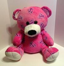 Superman Supergirl Six Flags Teddy Bear Plush Stuffed Animal Pink Purple... - $29.99
