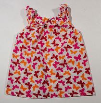 GYMBOREE GIRLS SIZE 4 LA PLAYA BUTTERFLY TOP SHIRT ORANGE RED BUTTERFLIES - $7.56