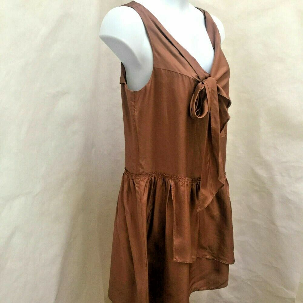 J Crew 12 Effie Scarf Dress Brown Sepia Silk Tie Sleeveless Tiered Asymmetric image 2