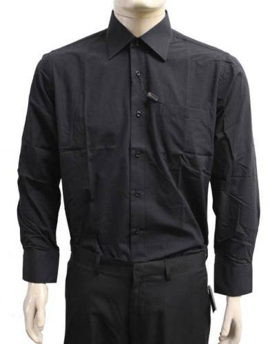 NEW DESIRE COLLECTION MEN'S CLASSIC LONG SLEEVE BUTTON UP DRESS SHIRT BLACK