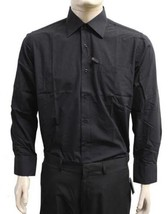 NEW DESIRE COLLECTION MEN'S CLASSIC LONG SLEEVE BUTTON UP DRESS SHIRT BLACK