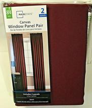 "Mainstays Canvas Panel Pair 2-40/84"" Curtains (1 pack) Garnet Red Cotton Blend - $23.22"