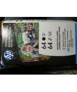 HP 64 Black & Tri-color Original Ink 2 Cartridges + 40 Sheets Photo Pape... - $38.99