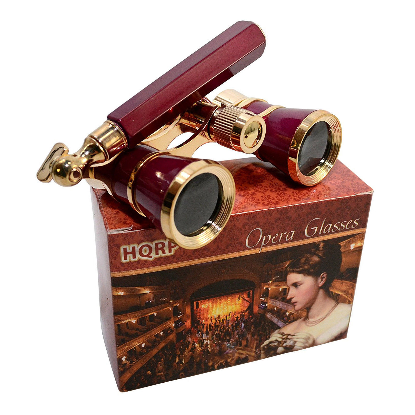 Primary image for HQRP 3x25 Opera Glasses w/ Built-In Extendable Handle / Burgundy with Gold Trim