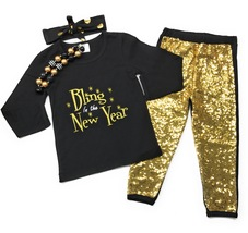 Cute Kids Clothing Toddler Girl/Girls Happy New Year Black Gold Sequin O... - $31.49