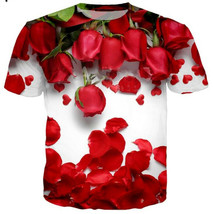 Fashion Men/Women Love Beautiful Rose 3D Print Casual T-Shirt Short Slee... - $33.00