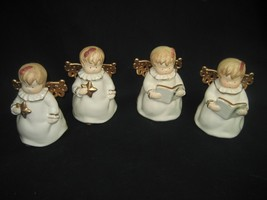 Vintage Set of Four (4) Christmas Choir White & Gold Porcelain Angels - $14.80
