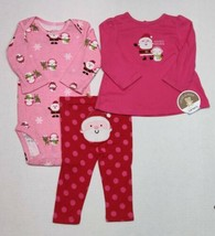 Carter's Christmas Outfit For Girls Newborn or 6 Months Santa Snowman 3 Piece - $12.00