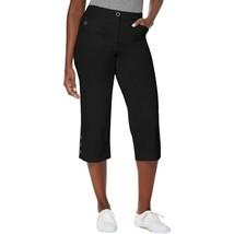 Karen Scott Cotton Button-Cuff Tummy Control Capri Pants, Black NWT 6 - $9.68