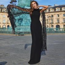 Black Lace Batwing Sleeve ONeck Sexy NightClub Maxi Dress image 1