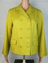 Talbots Damen Jacke Blazer Knöpfe Vorne Baumwolle Gefüttert Grün Größe 10 - $28.12
