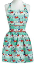 Anthropologie Ocean View Apron Waves Crabs Anchors Happy Vibrant Colors ... - £16.54 GBP