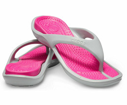 Crocs Athens Flip Flop Slipper 10024-0FS Gray/Pink Sz W6 W7 - $24.95