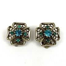 Vintage Blue Topaz Four Leaf Clover Design Silver Tone Huggie Clip Earrings - $22.77