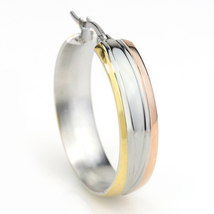 Sleek Polished Tri-Color Silver, Gold & Rose Tone Hoop Earrings- United Elegance image 2