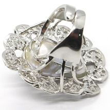 925 SILVER RING, PEARL BAROQUE WITH FRAME, FLOWER, MADE IN ITALY image 4
