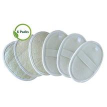 6 Packs Exfoliating Loofah Pads,100% Natural Loofah Sponge Scrubber Brush Close