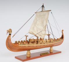 "Drakkar Viking Wooden Dragon Boat Ship Model 15"" Long Fully Assembled Ne... - $144.95"