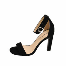 Qupid Hurst 01 Black Women's Open Toe Ankle Strap Sandal Heels - $31.95