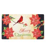Merry Christmas Poinsettia Door Mat: 29.5 X 17.7 Inches Item #: 30081519 - $14.99