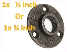 1/2 or 3/4 Inch Black Flange Iron Pipe Floor Fitting Plumbing Threaded 3... - $8.88