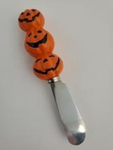 Halloween Fall Theme Cheese Spreader Knife Pumpkin Head Handle Scary Par... - $6.86