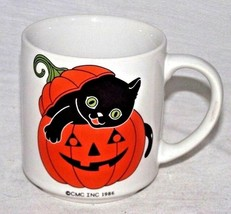 Black Cat Halloween Orange Pumpkin Mug Jack O Lantern CMC 1986 Coffee De... - £13.64 GBP