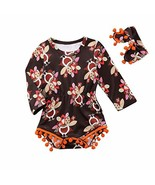 Thanksgiving Outfit Baby Girl Long Sleeve Turkeys Printed Pompom Tassels... - $13.37