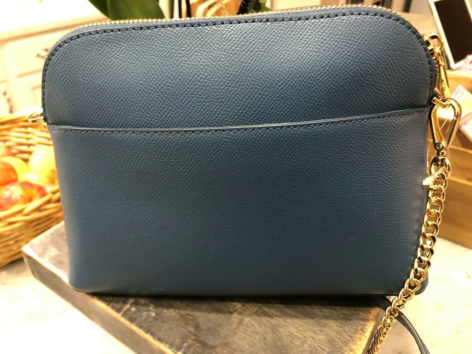 Michael Kors Mott Cindy Large Zip Dome Crossbody Bag Crossgrain Leather Chambray image 6