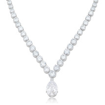 Bejeweled Cubic Zirconia Pear Drop Necklace - $102.00