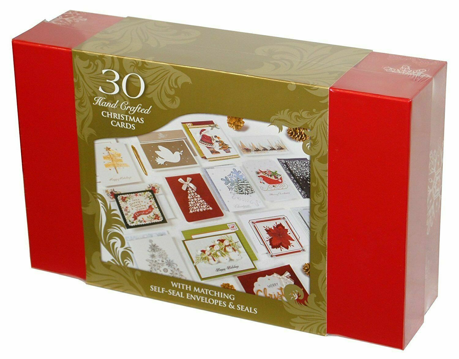 30 Hand Crafted Christmas Cards with Matching Self Seal Envelopes & Seals
