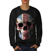 British Flag Skull Jumper Faded Colour Men Sweatshirt - $18.99+