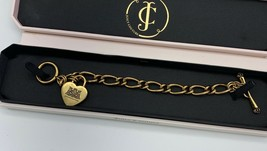 Juicy Couture Classic Gold Tone Puff Heart Charm Starter Toggle Bracelet... - $44.55