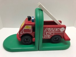 Wooden Fire Engine Truck Bookends Book Ends Boys Kids Room Inmon Ent. Pa... - $39.55