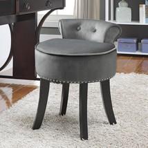 Vanity Stool Rolled Back Velvet Upholstered Contemporary Nailhead Trim F... - $90.49+