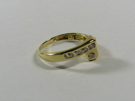14K 14KT YELLOW GOLD Size 5 Cubic Zirconia CZ Bypass Ring   Signed ATANA... - $94.05