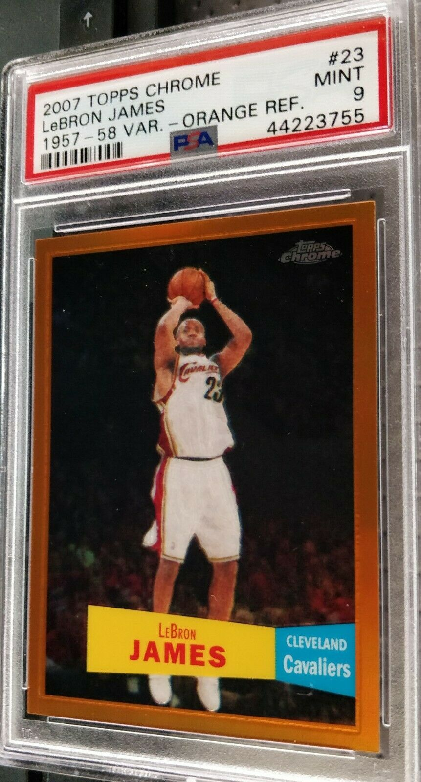 2007-08 Topps Chrome LeBron James Orange Refractor Var PSA 9 Mint #119/199