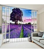 3D 2 Panel Curtain Set Lavender Fields Purple Blackout Style Beautiful - $290.00