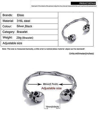 Men's Stainless Steel Skull Skeleton Bones Silver Tone Cuff Bracelet Biker