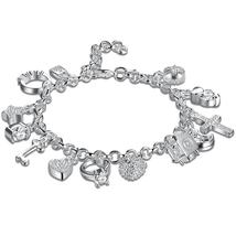 Swarovski Crystal Charms Bracelet in 18K White Gold Plated - $27.99