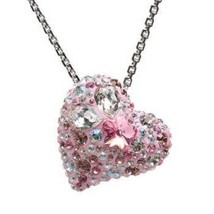 AUTHENTIC SWAN SIGNED SWAROVSKI ALANA PINK HEART PENDANT NECKLACE 1062588 - $119.00