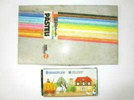 Vtg Alphacolor Colored Chalk Pastels 48 Square 12 Staedtler Pencils Art ... - $27.70