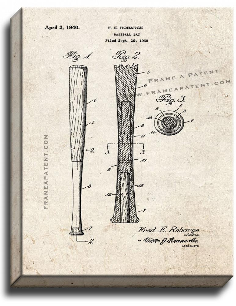 Primary image for Baseball Bat Patent Print Old Look on Canvas