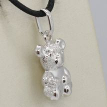 18K WHITE GOLD ROUNDED TEDDY BEAR PENDANT CHARM 22 MM SMOOTH & SATIN ITALY MADE image 4