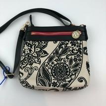 Spartina 449 Crossbody Purse Bag Black White Paisley 9X9X2 NWOT A64 - $38.69