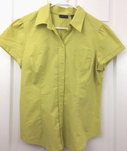 Short Sleeve Blouse Button Front Collared Olive Green The Madison NY Co... - $9.85