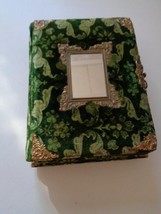 "Victorian Footed Photo Album 1800's Antique Brass And Green Velvet 12"" x... - $137.74"