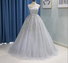Luxury Silver Sequin Beaded Ball Gown Quinceanera Dress Strapless Long P... - $215.22