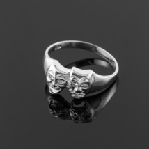 10K White Gold Drama Mask Unisex Ring - $125.99